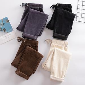 Vintage Yüksek Bel Kadife Pantolon Kadınlar Kadife Pantolon Bayan Büyük Beden 3XL Gevşek Kadınlar Isınma