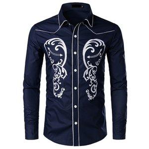 Großhandel Mens Designer Einreiher Casual Dress Shirts 2020 Frühling Langarm Stickerei Revers Neck Slim Fit formale Hochzeit Shirts
