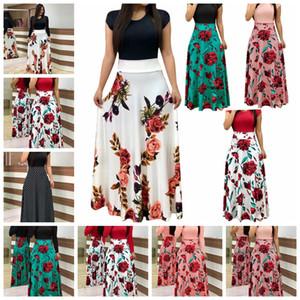 2021 heißen Verkauf explosionsgeschützte Europäisches Rundhals Blumendruck Kleid, S, M, L, XL, XXL, Multi-Color-Multi-Code, Unterstützung gemischte Charge