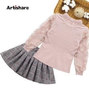 Çocuk Giyim Seti Sonbahar Genç Çocuklar Dantel Kazak + etek Kızlar Için 2 adet Takım Elbise Giysileri 6 7 10 11 12 Yıl J190514