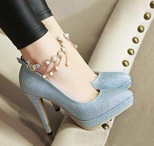 размер 32 до 42 43 сексуальных горного хрусталя невест свадебных туфель золото серебро насосы моды женщины обуви