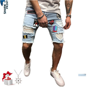 Sharkprint Fashion Ripped Shorts 청바지 남성 스트레치 슬림 바이커 버뮤다 청바지 Masculina 블루 데님 수 놓은 반바지 Streetwear Y19050501