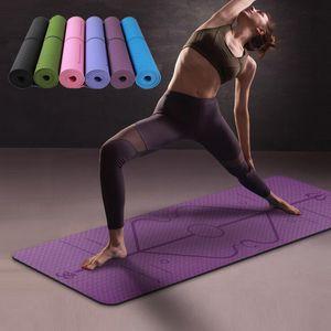 1830*610*6mm TPE Yoga Mat with Position Line Non Slip Carpet Mat For Beginner Environmental Fitness Gymnastics Mats SD11001