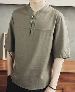 T-Shirt 2019 Männer Sommermode Hohe Qualität Grau Gelb Weiß Leinen Kurzarm Blank chinesischen Stil Einfache Freizeit T-Shirt 10