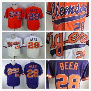 NCAA tigres # 28 Seth Beer Mens Laranja Baseball Colégio camisola barata Branco Roxo costurado Seth Beer Universidade Jersey shirt Clemson