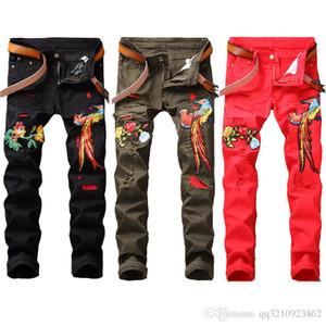 2019 nuovo hip hop famoso fiore ricamati jeans diritti Slim Fit Mens stampato Biker denim pantaloni pantaloni jeans