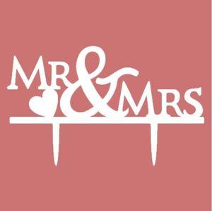 """""""Hot style wedding supplies acrylic cake"""" أدرج بطاقة السيد MRS With heart Wedding Cake Toppers تعكس زينة الزفاف"""