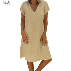 Dress 2020 New Women Summer Style Feminino Vestido T Shirt Cotton Linen Casual Plus Size Ladies Loose Dresses 6.Jan.13