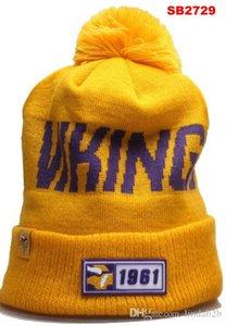 2020 Cappello di lana Minnesota Beanie MIN Sideline Script ammanettato con Pom Donne Uomini Sport Cappello di lana tutte Team Inverno a maglia di lana Calotta 1000 05