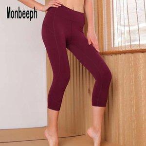Monbeeph 2019 новых женщин высокой талией капри стрейч капри тощий вино красный черный синий брюки Y19072901