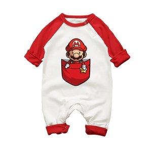 Новорожденный ребенок с длинным рукавом комбинезон Super Mario Bros. хлопок мультфильм комплект одежды для новорожденных мальчиков девочек одежда малыша комбинезоны J190524