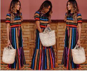 Short sleeve Rainbow Stripe digital print dress long skirt casual big swing skirt Show thin
