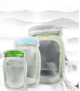 Mason Jar Shaped Food Container Plastiktüte Klar Mason Flasche Modellierung Reißverschlüsse Lagerung Snacks Kostenloser Versand