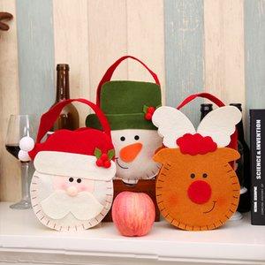 Sac de bonbons de Noël porte-cadeaux non-tissés en tissu Cartoon Santa Claus Elk Handbag Kids Hanging Gift Bag