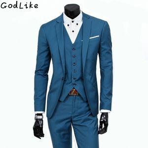 New 2017 Mens Light Grey Suits Jacket Pants Formal Dress Men Party Suit Set men wedding suits groom tuxedos Male leisure Blazers C18122501