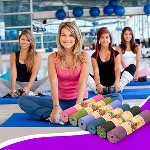 6 mm di spessore bicolore Colored TPE Yoga Mats alta qualità peso Esercizio Yoga Mat 183 x 61 Pilates Yoga fitness accessori per FY6018
