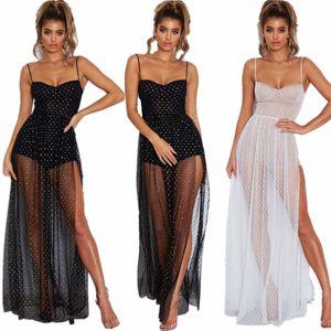 여성 스파게티 스트랩 투명한 메쉬 드레스 높은 분할 드레스 우아한 여성 여름 일 드레스 클럽 파티 드레스 가운 긴 맥시 화이트 드레스