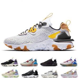 Nike React Vision shoes Çekirdek Siyah Mens ve kadınlar için Ayakkabı Koşu ayakkabıları mens spor sneakers moda flair adam eğitmen chaussure ...