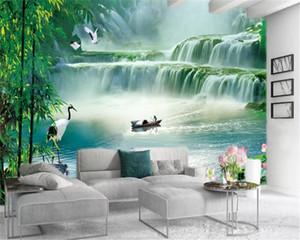 Living 3d Wallpaper Fantasy Large Waterfall Landscape Scenery Custom Beautiful Scenery Silk Mural Wallpaper