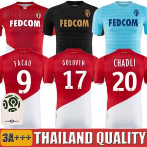 19 20 AS Monaco Camisas De Futebol 2019 2020 maillot de foot GELSON. FALCAO FABRAGAS GOLOVIN JOVETIC GLIK CHADLI Camisa de uniforme de futebol