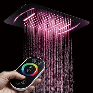 Cabeça de chuveiro Luz LED SUS304 Showerhead 580 * 380mm Chuveiro Do Banheiro Cachoeira Cachoeira Chuveiros Montados No Teto