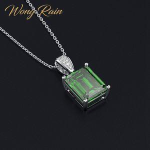 Wong дождь Vintage 100% стерлингового серебра 925 Создано Муассанит Emerald Gemstone Бриллианты ожерелье Fine оптовой продажи ювелирных изделий