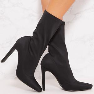 Vente chaude-FITWEE Femmes Demi Bottes Courtes Vintage Square Toe Stretch Chaussures Femmes De Haute Qualité Élastique Chaussette Chaussure Taille 35-43