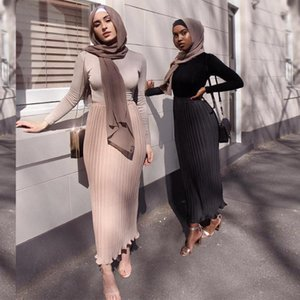Siskakia Moda Chiffon saia plissada Euro America Double Layer Maxi saias Sólidos Império doce fresco muçulmana meninas saia Eid
