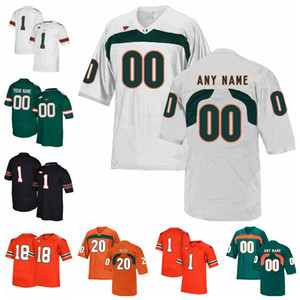 Miami Hurricanes Maillots Dwayne Johnson Jersey Jimmy Graham Jim Kelly Devin Hester Frank Gore 2020 College Football chandails personnalisés Cousu
