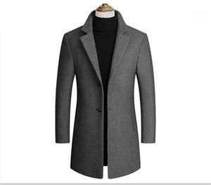 Neck Outwear Herren Langarm Trench Coats Frühlings-Herbst-Männer Outwear mit Einreiher Fashion Solid Revers