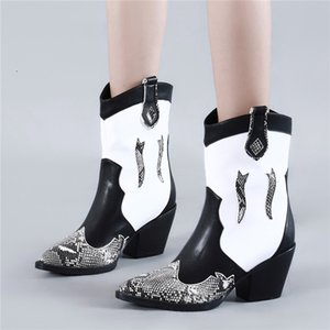 Fedonas Новый Лоскутная Pu Кожа женщин Классический Ботильоны Мода Западная сапоги партии обувь Женщина Плюс Размер Женщины Высокие каблуки