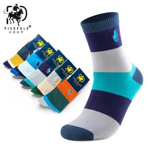 Высокое качество Мода Multicolor 5 пар Марка PIER POLO Casual Cotton Socks Бизнес Вышивание Мужчины Носки Производитель оптом
