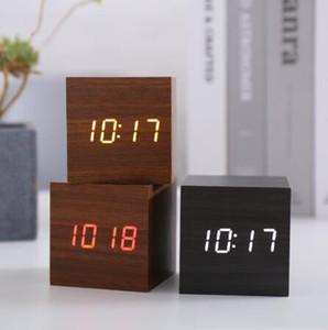 Jinsun Control de alarma de reloj de sonido de Madera Led Reloj Cuadrado escritorio Led Digital sola cara del reloj despertador Activado