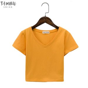Crop Top Women 2020 Summer Cotton Loose Casual Blusas White T Shirt Sexy Thin Female V Neck Short Sleeve Tee Shirts 7