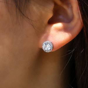 Diseñador de moda pendientes pendientes circular color del diamante del Zircon de plata del perno prisionero de la joyería de señora Girls regalo