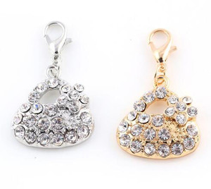22x21mm (Gold,Silver Color) 20PCS lot Rhinestones Flower Bag Pendant Charm DIY Hang Accessory Fit For Floating Locket Jewelrys