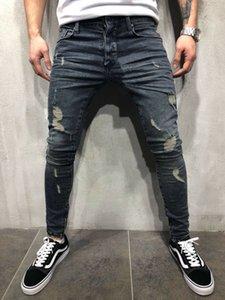 Meninos Mens Jeans Rasgado Elástico Skinny Slim Fit Denim Calças Desfiadas Desgastado Bigode Efeito Calças Moda Streetwear