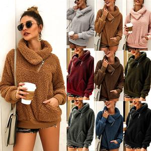 Di lusso abiti firmati cappotti di inverno delle donne risvolto spesso maglione delle donne supera felpate di lana femminili delle donne vestiti con cappuccio di pelliccia pullover