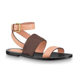 vitello di cuoio delle donne della ragazza della signora suola scarpe casual-chic spirito alla caviglia fibbia regolato estate piatte passeggeri sandalo