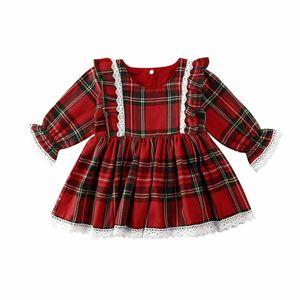 Pudcoco 2020 Нового Рождество малышей Baby Girl Red Сборка Plaid платье Lace Принцесса Тута платье Xmas Детские костюмы 1-6Y