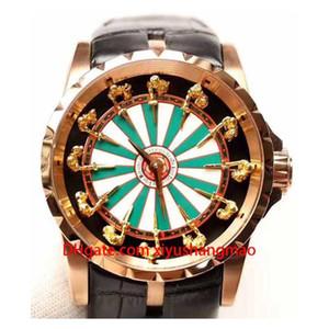 La conception de maître de luxe EXCALIBUR RDDBEX0398 Boîtier en acier inoxydable, bracelet en cuir, douze cavaliers d'or, mouvement mécanique à remontage automatique.