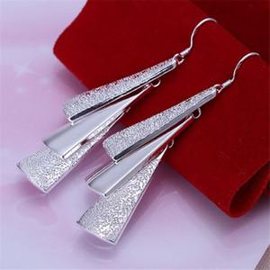 Ohrringe baumeln Retro Dreieck Reize schöne silberne Farbe Schmuck für Frauen Dame Geschenk Hochzeit Party schön niedlichen Schmuck, E015