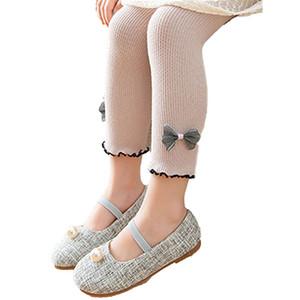 Enfants solide Filles Leggings en tricot de coton Jambières pour les filles dentelle Bow Casual Collant d'été Fille Enfants Printemps 1-11Y