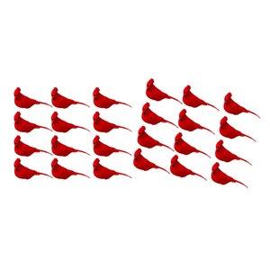 24 Confezione Falso Vivid Schiuma Red Feather clip-on per gli uccelli a Prato Decor puntello della foto