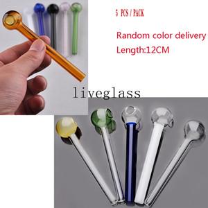 Long Handmade Mini Colorful Glass Oil Burner Pipe Smoking Handle Holder Pipes Pyrex oil burner pipe 12cm