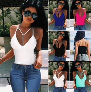 Для женщин лето Дизайнер Low Cut V шеи Sling Vest моды Backless Solid Color Тонкий T Shirt