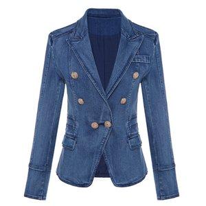 Ölüm sonbahar ve kış kruvaze denim mavi ceket yüksek bel kadın kısa ceket yüksek moda metal düğmeler wj02305l