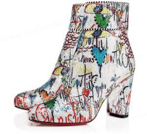 Изящной Moulamax Женской лодыжек ботинок Коренастых пятки Graffiti кожа красного Bottom Boots Лучших качества дама Известная красная Подошва пинетка