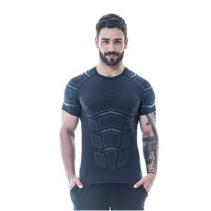 Hot fast drying shirt for males sports compression mens running fitness T-shirt tight-fitting Fashion summer sportswear with plus size