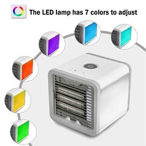 오피스 홈에 대한 팬 공기 냉각기 냉각 팬 새로운 도착 USB 미니 휴대용 에어컨 가습기 정수기 7 색 빛 데스크톱 공기